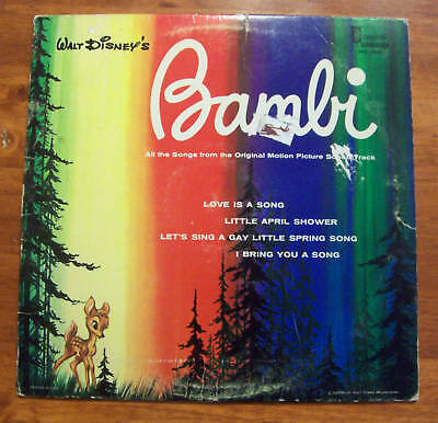 Vintage Collectible Bambi All Songs of Original Movie Picture LP Record Music L2
