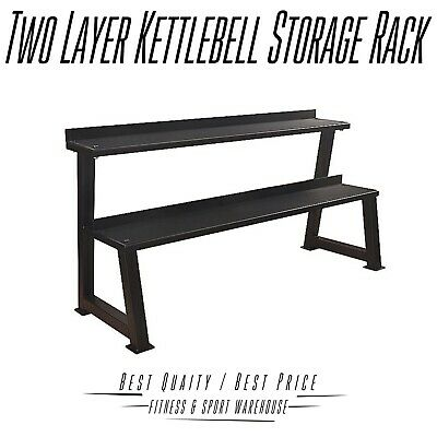2 Tier Kettlebell Rack Two Layer Level Stand Home Gym Weight Storage Heavy Duty