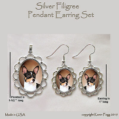 RAT TERRIER DOG - Filigree PENDANT EARRING Set