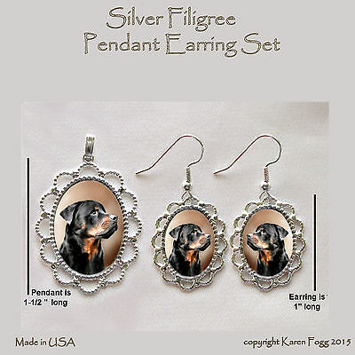 ROTTWEILER DOG - Filigree PENDANT EARRING Set