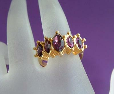 Beautiful Designer VTG Faux Amethyst Glass 5 stone Goldtone Ring Size 6 1/2 AVON