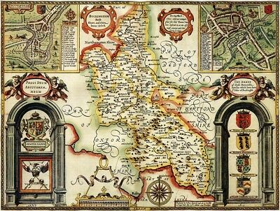 BUCKINGHAMSHIRE 1610 by John Speed - reproduction old map