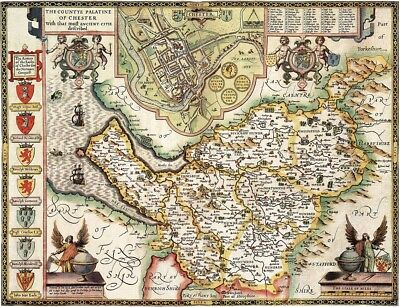 CHESHIRE 1610 by John Speed - reproduction old map