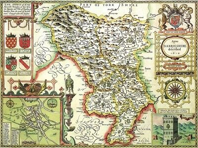 DERBYSHIRE 1610 by John Speed - reproduction old map