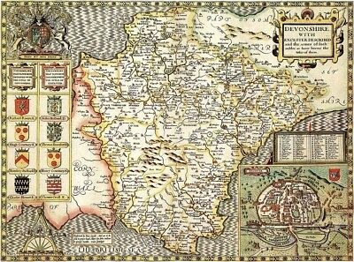 DEVONSHIRE 1610 by John Speed - reproduction old map
