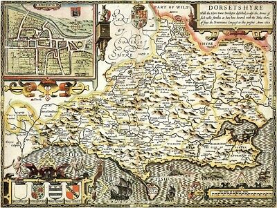 DORSETSHIRE 1610 by John Speed - reproduction old map