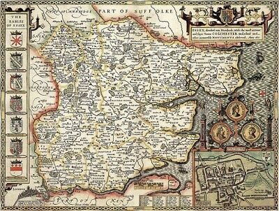 ESSEX 1610 by John Speed - reproduction old map