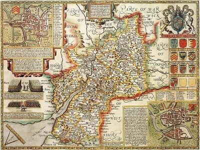 GLOUCESTERSHIRE 1610 by John Speed - reproduction old map