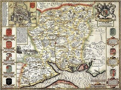 HAMPSHIRE 1610 by John Speed - reproduction old map