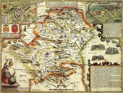 HERTFORDSHIRE 1610 by John Speed - reproduction old map