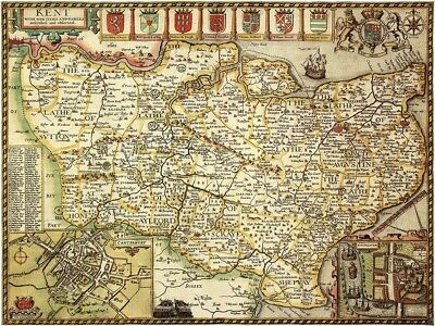 KENT 1610 by John Speed - reproduction old map