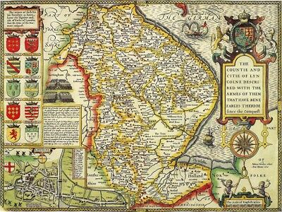 LINCOLNSHIRE 1610 by John Speed - reproduction old map