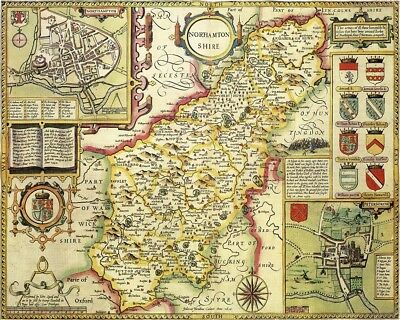 NORTHAMPTONSHIRE 1610 by John Speed - reproduction old map