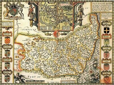 SUFFOLK 1610 by John Speed - reproduction old map