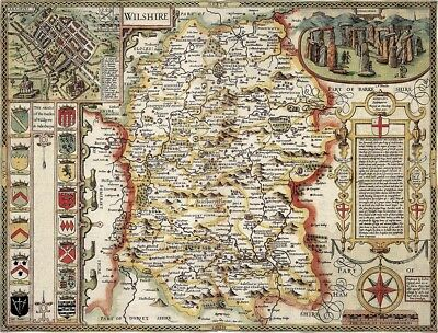 WILTSHIRE 1610 by John Speed - reproduction old map