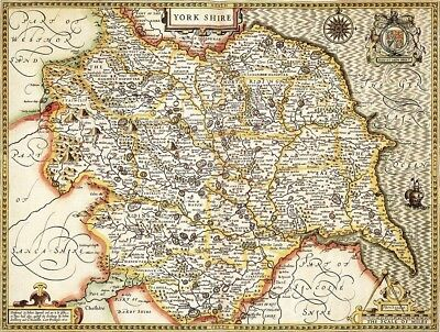 YORKSHIRE 1610 by John Speed - reproduction old map