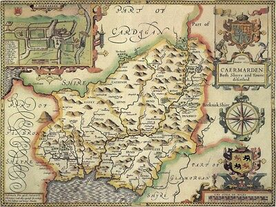 WALES CARMARTHENSHIRE 1610 by Speed - reproduction old map