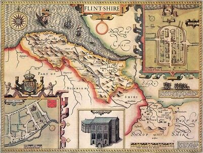 WALES FLINTSHIRE 1610 by Speed - reproduction old map