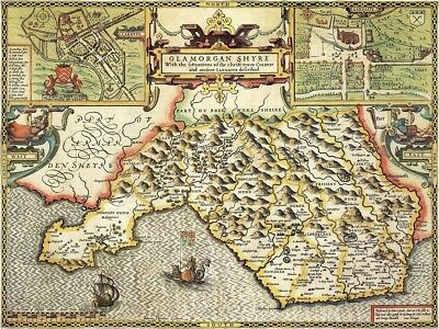 WALES GLAMORGANSHIRE 1610 by Speed - reproduction old map