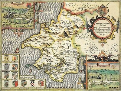 WALES PEMBROKESHIRE 1610 by Speed - reproduction old map