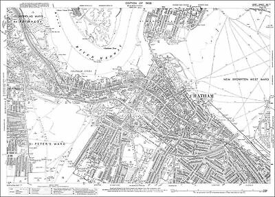 Chatham, Brompton (south) OS Kent 19-7-1909 old map repro