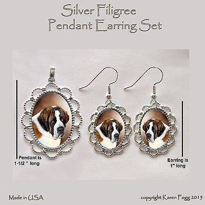 SAINT BERNARD DOG - Filigree PENDANT EARRING Set