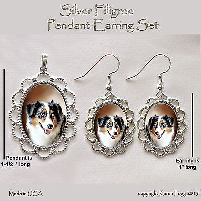 AUSTRALIAN SHEPARD DOG - Filigree PENDANT EARRING Set