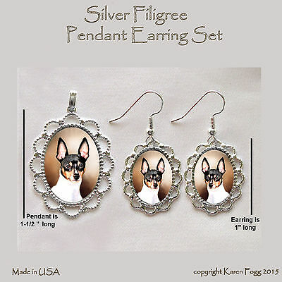 TOY FOX TERRIER DOG - Filigree PENDANT EARRINGS SET