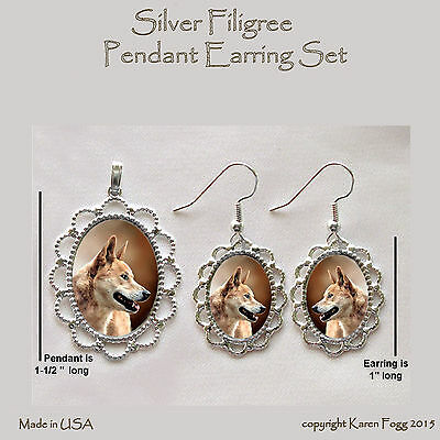 DINGO DOG - Filigree PENDANT EARRING Set