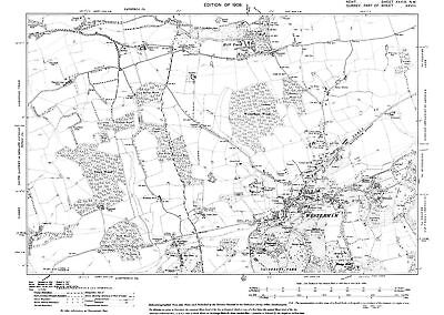 Westerham old OS Kent map  39-NW-1909 - repro