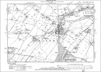 Eastry, Ham, Hernden old OS Kent map 48-SW-1907 - repro