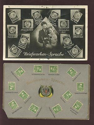 AUSTRIA GERMANY 1930 + 1941 GREETINGS + STAMPS...2 PPCs