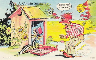 A COUPLA STINKERS - 1940s OUT HOUSE CARTOON POSTCARD