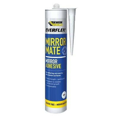 Everbuild Everflex Mirror Mate Sealant Adhesive White Glass Splashback Glue Bond