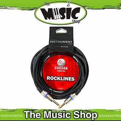 New Carson Rocklines 10ft Black Braided Guitar Cable - 3m Instrument Lead