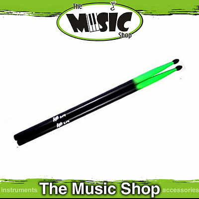New AMS 5A Drumsticks Black with Green Tips - Fluro Drum Sticks