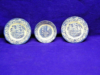 3 PC Staffordshire Liberty Blue Betsy Ross & Monticello China Plates, Bowl S2083
