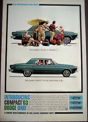 1962 family w/ blue compact Dodge Dart Car vintage ad