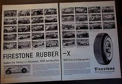 1958 FIRESTONE Tires Indianapolis Jimmy Bryan 2pg Ad
