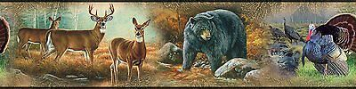 HUNTING OUTDOORS Wall Border Room Decor Decals Wallpaper Wildlife Bear Deer Tree