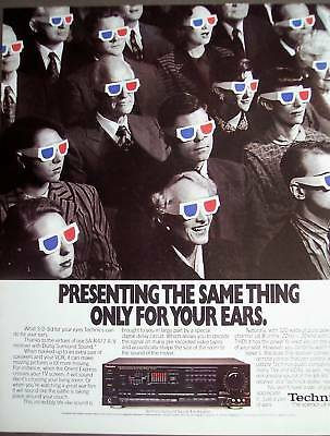 1989 people w/ 3D glasses Technics Sound Receiver Ad