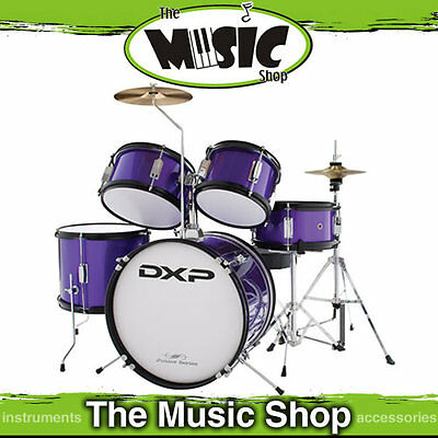 New DXP 5 Piece Junior Drum Kit - Purple Kids Drum Set with Stool  - Drumkit