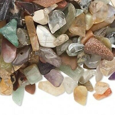 50 Grams Gemstone MIX Small to Medium Chips  * UNDRILLED Embellishment