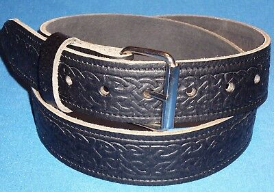 Celtic Belt Black Hand Made Real Leather Snap on Buckle Made in England xl K7