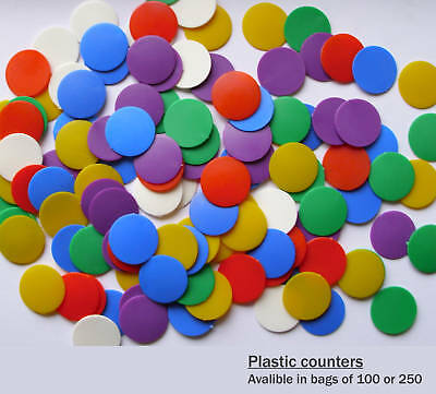 22mm Plastic Counters - Assorted Colours (Pack of 100)