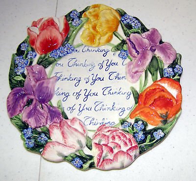 Fitz and Floyd Thinking of You Canape Hanging  Plate