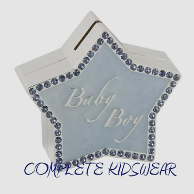 Baby Boys Blue Star Silver Plated Bank Money Box Christening New Baby Gift Idea