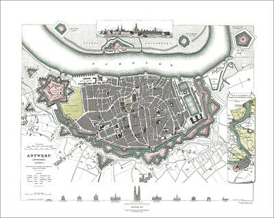 Antwerp, Belgium in 1832 SDUK town plan