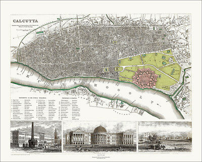 Old , vintage - Calcutta, India in 1842 SDUK town plan Map