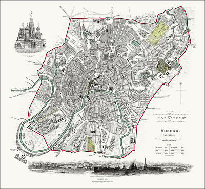 Moscow, Russia in 1836 SDUK town plan